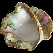 Antique Hand Painted Porcelain Basket Signed S Kegerreis