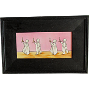 Charming Sunbonnet Children Going to Bed, Hand Painted Tile, Signed