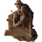 Vintage Hand Carved European Plaque of a Farmer & Cow