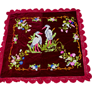 Antique Velvet Tablecloth with Embroidered Heron Motif