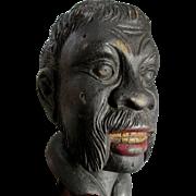 Vintage Folk Art Black Americana Wood Bust, Moorish Man