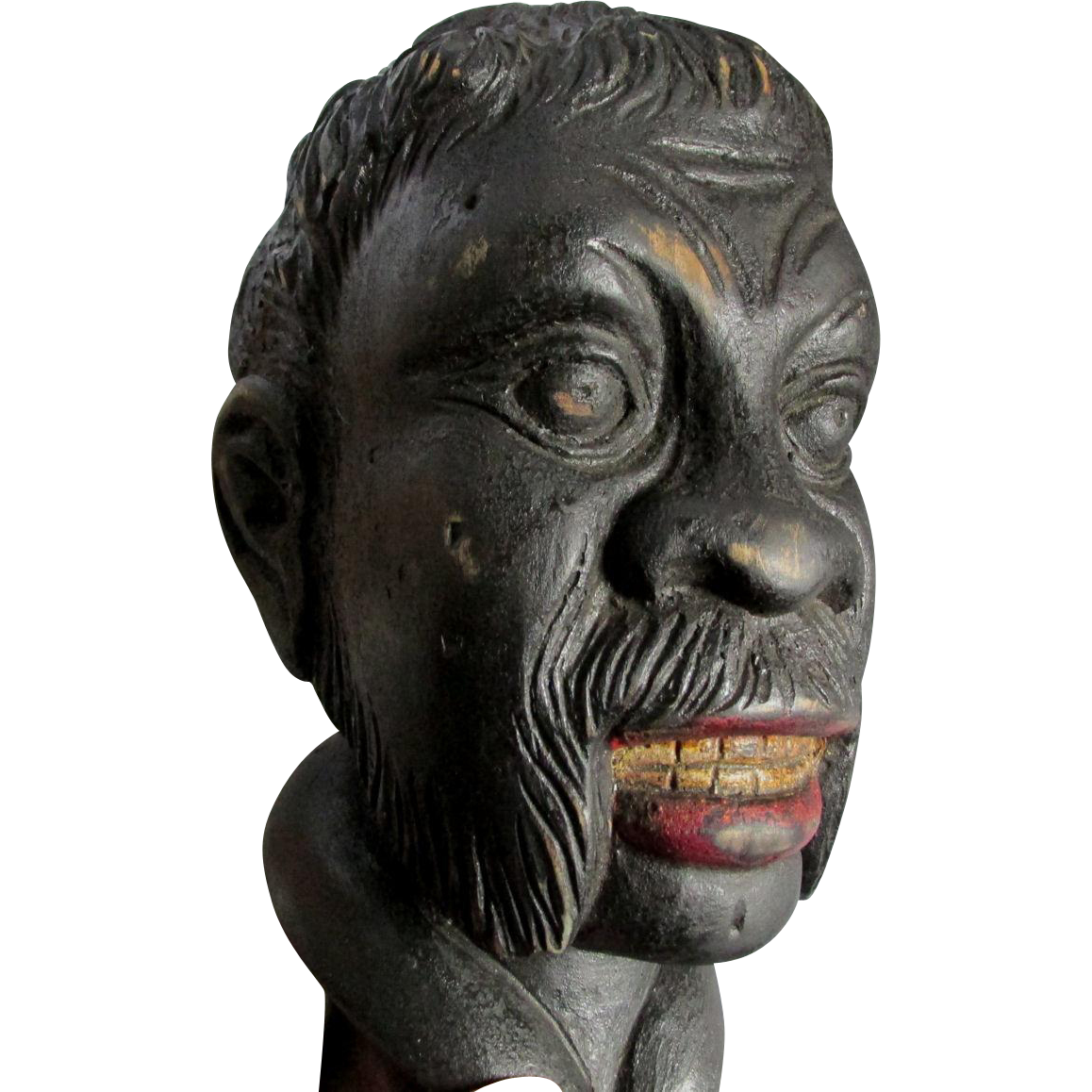 Vintage Folk Art Black Americana Wood Bust, Moorish Man