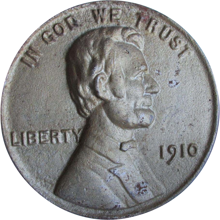 Big c1910 Cast Iron Coin with Abraham Lincoln Portrait