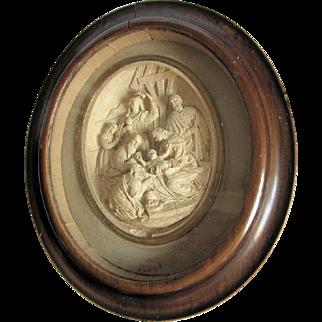 Antique 19thC French Christian Shadowbox, Birth of Jesus, Meerschaum