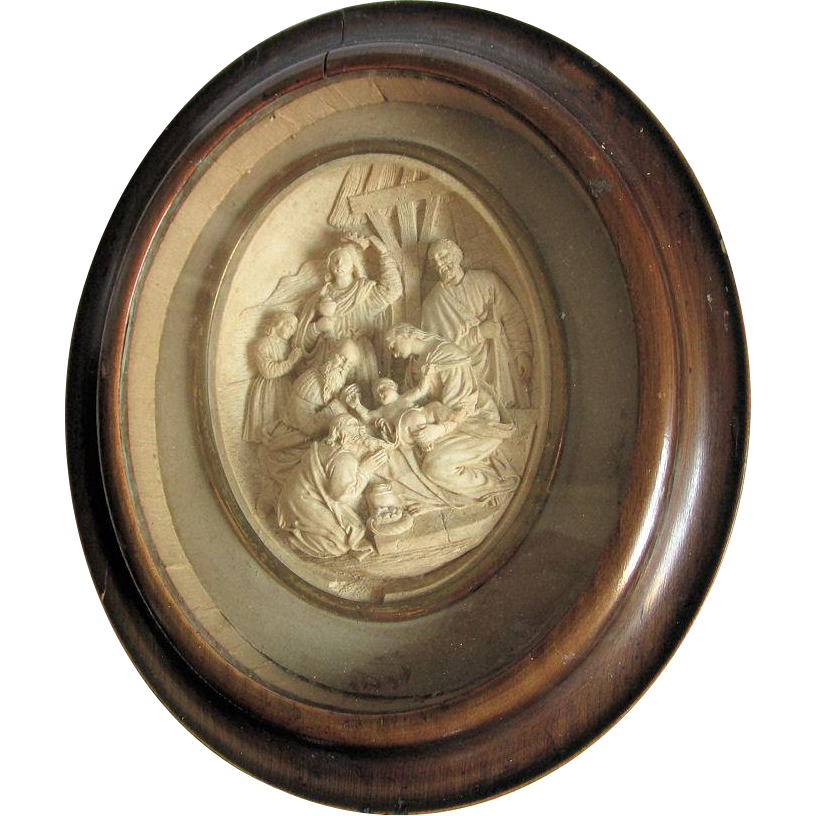 Antique 19thC French Christian Shadowbox, Birth of Jesus, Meerschaum