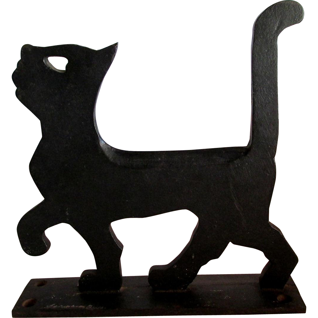 rare c1926 black cat cast iron boot scraper by household patent co
