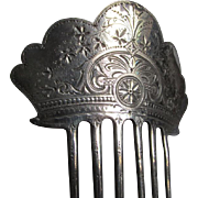 Lovely c1878 Engraved, Silverplate Ladies Hair Comb