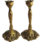 Antique Gilt Gold Art Nouveau Candlesticks with Grape Motif