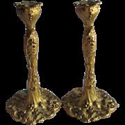 Antique Gilt Gold Art Nouveau Candlesticks with Grape Motif
