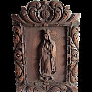 Hand Carved Religious Plaque of Madonna, Spanish Mexico or Peru