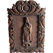 Hand Carved Religious Plaque of Madonna, Spanish Mexico or Peru