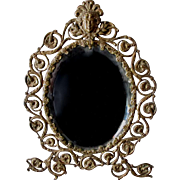 Pretty Victorian Brass Picture Frame, Mirror with Ladies Face