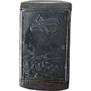 Antique Match Safe, Vesta with Airplane, Aeroplane & Lion
