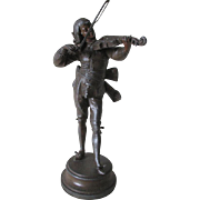19thC Cabinet Sculpture of a French Gentleman Playing a Violin