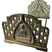 Antique Arts & Crafts Bookends with Owl & Book Motif