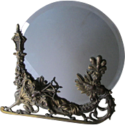 c1880s Vanity Mirror with Gargoyle Mythological Lady Sled, Cherub Angel