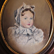 Antique Oil Painting of a Lovely Little Girl