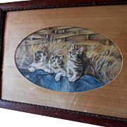 Antique Folk Art Watercolor Painting of Kittens, Cats