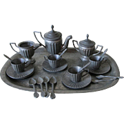 Antique Miniature Pewter Doll Tea Set with Tray, Cups, Saucers, Spoons