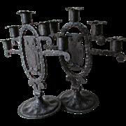 Antique Wrought Iron Owl Candlesticks, Candelabra, Goberg