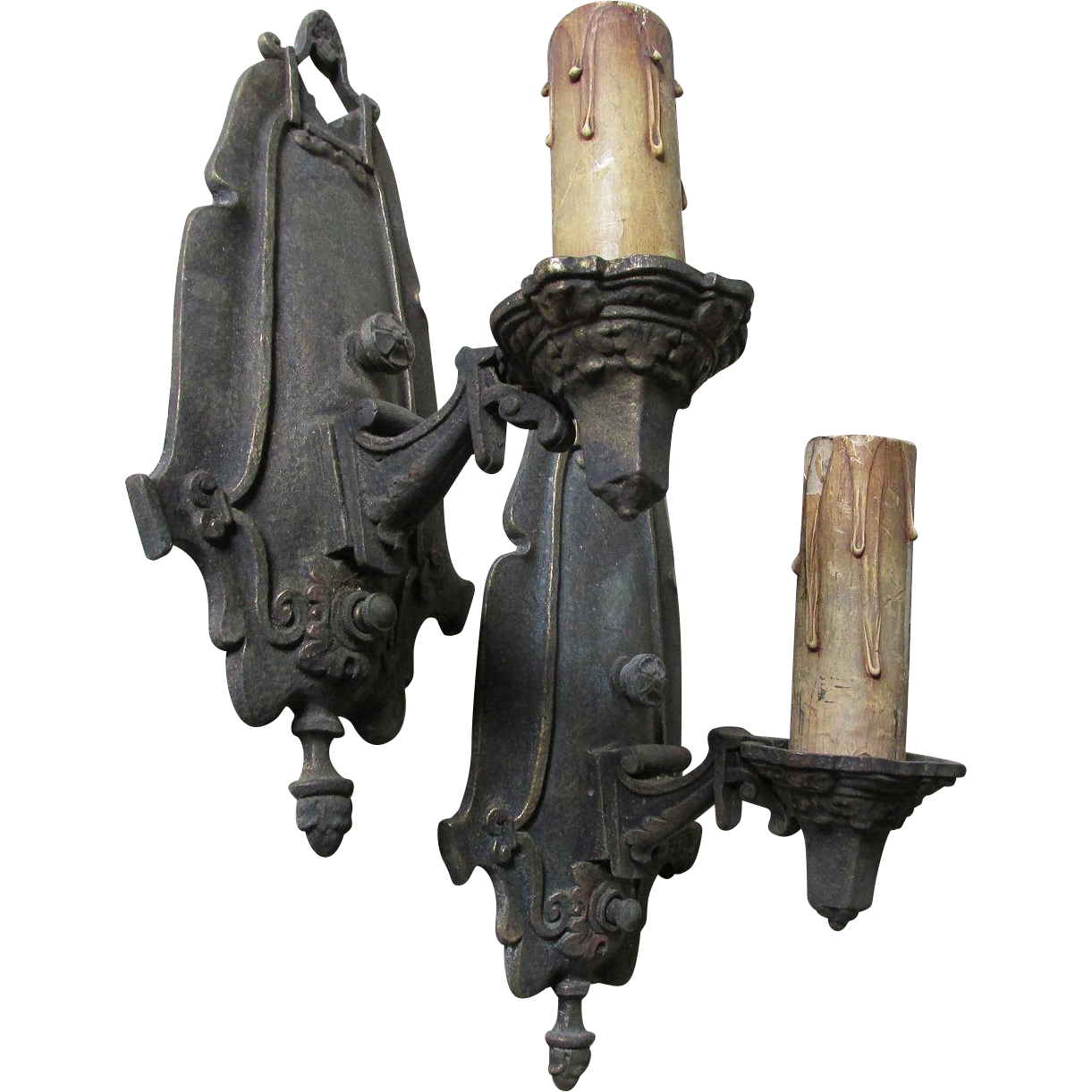 Pair Antique Cast Brass Wall Sconces, Antique Lighting from neatcurios on Ruby Lane