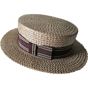 c1921 Gentleman's Straw Boater Hat,  Knox Hat Company Fifth Ave NY