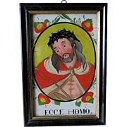 Antique Reverse Painting on Glass Religious Icon Jesus ECCE Homo