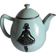 c1920s Art Deco Agateware Teapot with Lady Silhouettes
