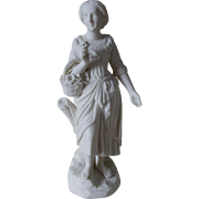 c1880s Parian Porcelain Figurine, Lovely Lady with Basket of Flowers
