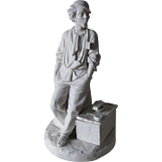 Antique Parian Porcelain Match Safe, Young Man with Shoe Shine Box