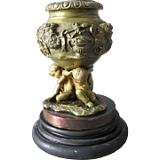 19thC Antique Bronze Match Safe, Candlestick with Cherubs, Bacchus