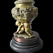 19thC Antique Bronze Match Safe, Candlestick with Cherubs, Bacchus