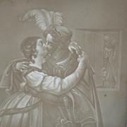 Antique European Lithophane, Lithopane of a Couple Kissing, Man Peeking