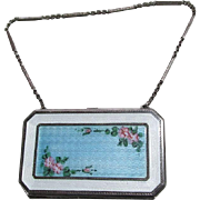 c1920s Art Deco Sterling Silver & Guilloche Enamel Compact, Handbag