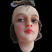 Circa 1920s Flapper Doll Wax Head, Ladies Face