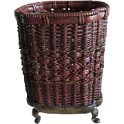 Fine c1900 Miniature Asian Woven Metal Basket