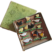 c1920s German Christmas Tree Decorations, Wood Chickens & Rooster