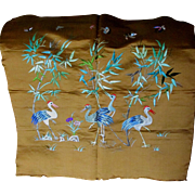 c1910s Chinese Silk Embroidery Panel with Cranes, Birds