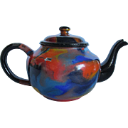 Rare End of Day Swirl Enamel Teapot, Agateware
