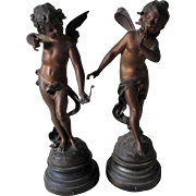 Lovely c1880s French Sculptures of Cupid and a Fairy, Auguste Moreau