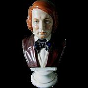 Antique Porcelain Bust of Schumann, Chelsea Anchor Mark