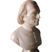 Antique Carved Alabaster Bust of Music Composer Franz Lidzt