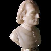 Antique Carved Alabaster Bust of Music Composer Franz Lidzt