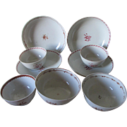 9 Pieces 18thC Chinese Export Porcelain, Cups, Tea Bowl, Plates