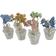 6 Art Deco Czech Crystal Flower Pot Place Card Holders