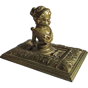 Antique Bronze Classical Cherubic Child Desk Accessory, Paperweight