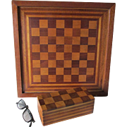 c1930 Folk Art Inlaid Checker, Chess Game Board & Game Box