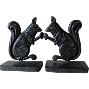 Cast Iron Squirrel Bookends, Advertising Premium, Richmond & Kemp