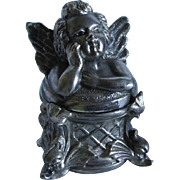 Antique Cherub Angel & Dolphin Silverplate Inkwell