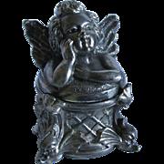 Antique Cherub Angel & Dolphin Silverplate Inkwell
